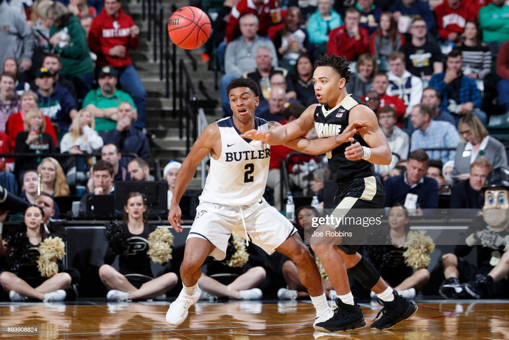 Aaron Thompson #2 of the Butler Bulldogs defends against Carsen Edwards #3 of the Purdue Boilermakers in the second half of the Crossroads Classic at Bankers Life Fieldhouse on December 16, 2017 in Indianapolis, Indiana. Purdue won 82-67.