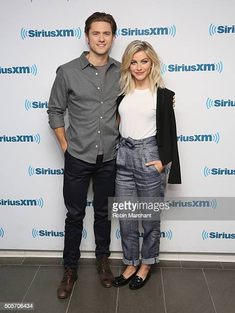 Aaron Tveit and Julianne Hough visit at SiriusXM Studios on January 15 2016 in New York City