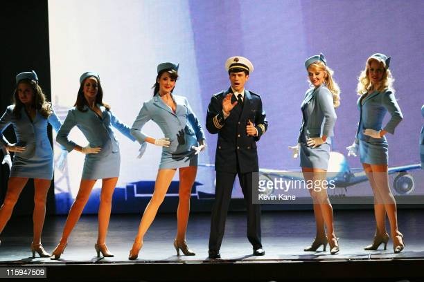 Aaron Tveit and the cast of 'Catch Me If You Can' perform on stage during the 65th Annual Tony Awards at the Beacon Theatre on June 12 2011 in New...