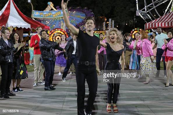 LIVE Aaron Tveit as 'Danny Zuko and Julianne Hough as 'Sandy' rehearse for GREASE LIVE airing LIVE Sunday Jan 31 on FOX