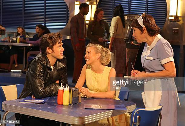 LIVE Aaron Tveit as 'Danny Zuko Julianne Hough as 'Sandy' and Didi Conn as Vi rehearse for GREASE LIVE airing LIVE Sunday Jan 31 on FOX