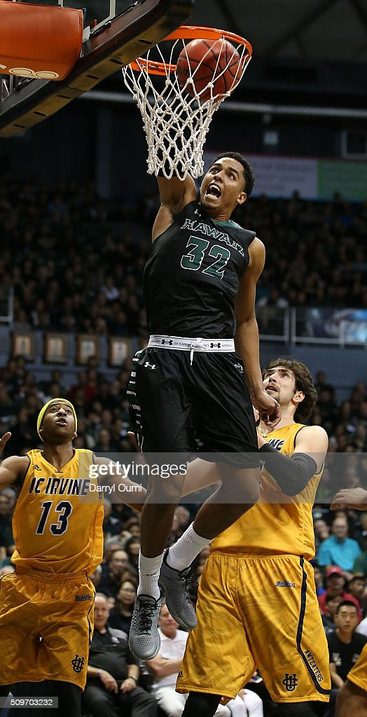 Aaron Valdes #32 of the Hawai'I Rainbow Warriors dunks the ball against the UC Irvine Anteaters at Stan Sheriff Center on February 12, 2016 in Honolulu, Hawaii.