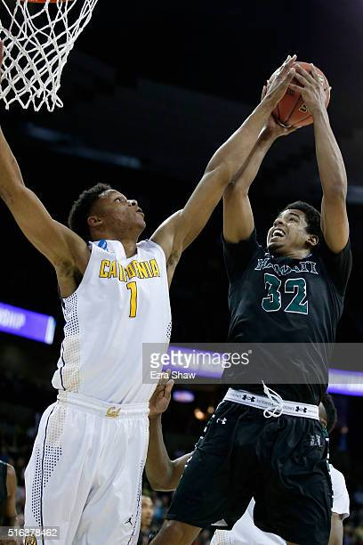 Aaron Valdes of the Hawaii Warriors puts up a shot in front of Ivan Rabb of the California Golden Bears in the second half during the first round of...