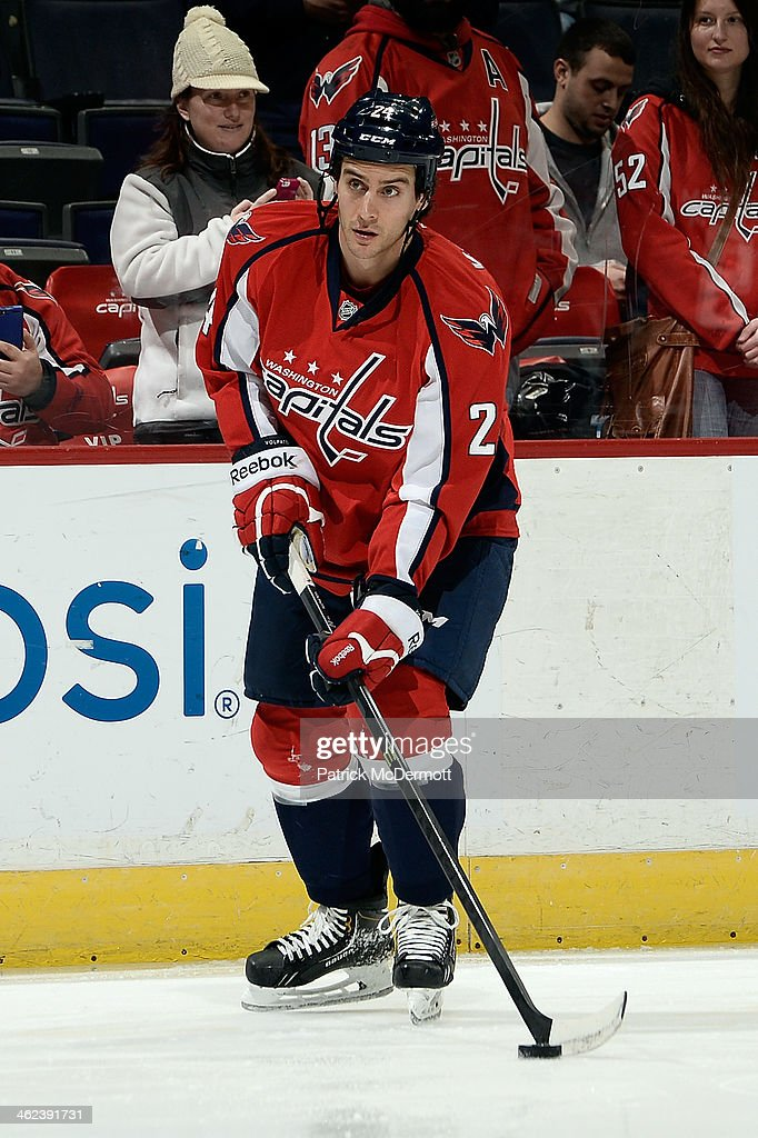 <a gi-track='captionPersonalityLinkClicked' href=/galleries/search?phrase=Aaron+Volpatti&family=editorial&specificpeople=7187520 ng-click='$event.stopPropagation()'>Aaron Volpatti</a> #24 of the Washington Capitals warms up prior to playing an NHL game against the Toronto Maple Leafs at Verizon Center on January 10, 2014 in Washington, DC.