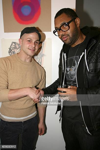 Aaron Wahl and Duane Bruton attend PAPERCUT Inaugural Exhibition to Celebrate the Print Making Process at Heist Gallery on December 13 2008 in New...