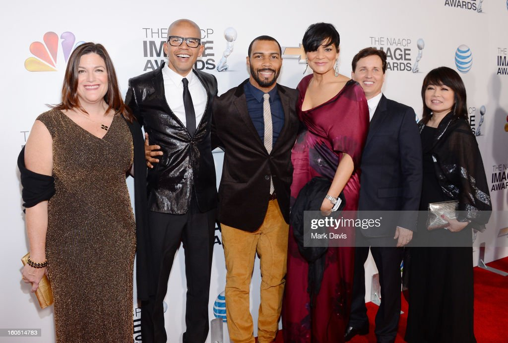 Aaron Walton, Omari Hardwick and Mariko Kusumoto and guests attend the 44th NAACP Image Awards at The Shrine Auditorium on February 1, 2013 in Los Angeles, California.