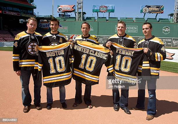 Aaron Ward Patrice Bergeron Marco Sturm Mark Krejci and Shawn Thornton stand at Fenway Park to announce details regarding the 2010 Bridgestone NHL...