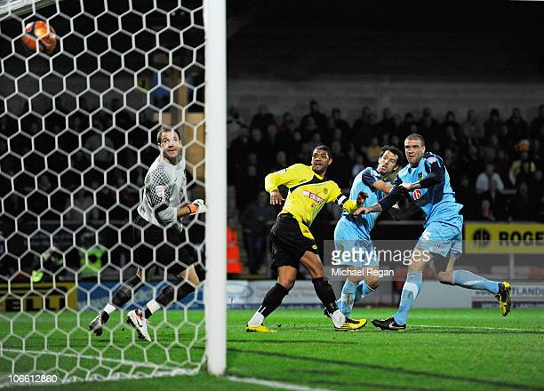 Aaron Webster of Burton scores to make it 10 during the FA Cup 1st Round match between Burton Albion and Oxford United at the Pirelli Stadium on...