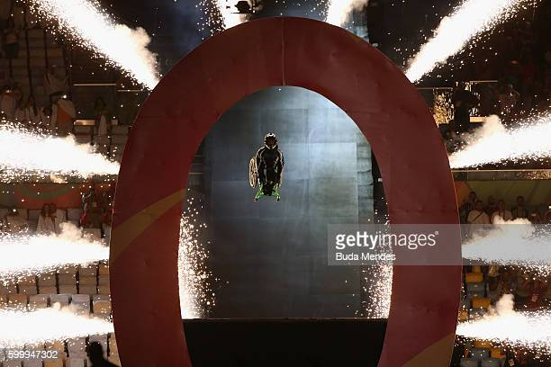 Aaron Wheelz jumps from a MegaRamp at the start of the the Opening Ceremony of the Rio 2016 Paralympic Games at Maracana Stadium on September 7 2016...