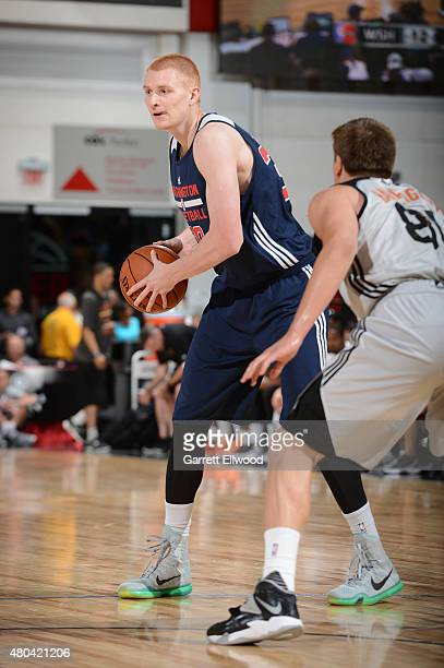 Aaron White of the Washington Wizards defends the ball against the Phoenix Suns during the game on July 11 2015 at Thomas And Mack Center Las Vegas...