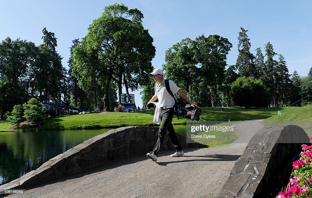 Aaron Wise of Oregon crosses a foot bridge on the 16th hole during round three of the 2016 NCAA Division I Men's Golf Championship at Eugene Country Club on May 31, 2016 in Eugene, Oregon.