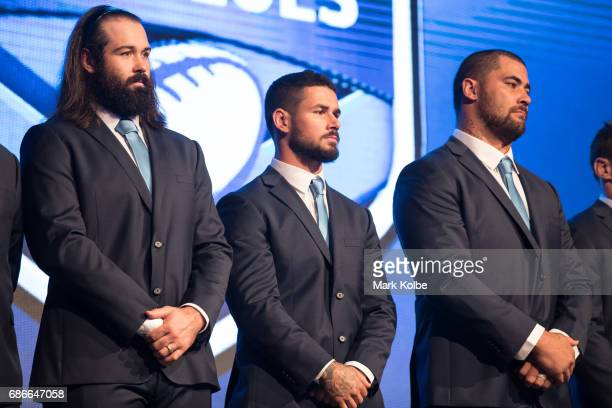 Aaron Woods Nathan Peats and Andrew Fifita stand on stage during the New South Wales State of Origin team announcement at The Star on May 22 2017 in...