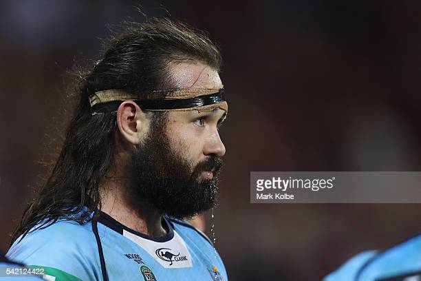 Aaron Woods of the Blues looks dejected during game two of the State Of Origin series between the Queensland Maroons and the New South Wales Blues at...