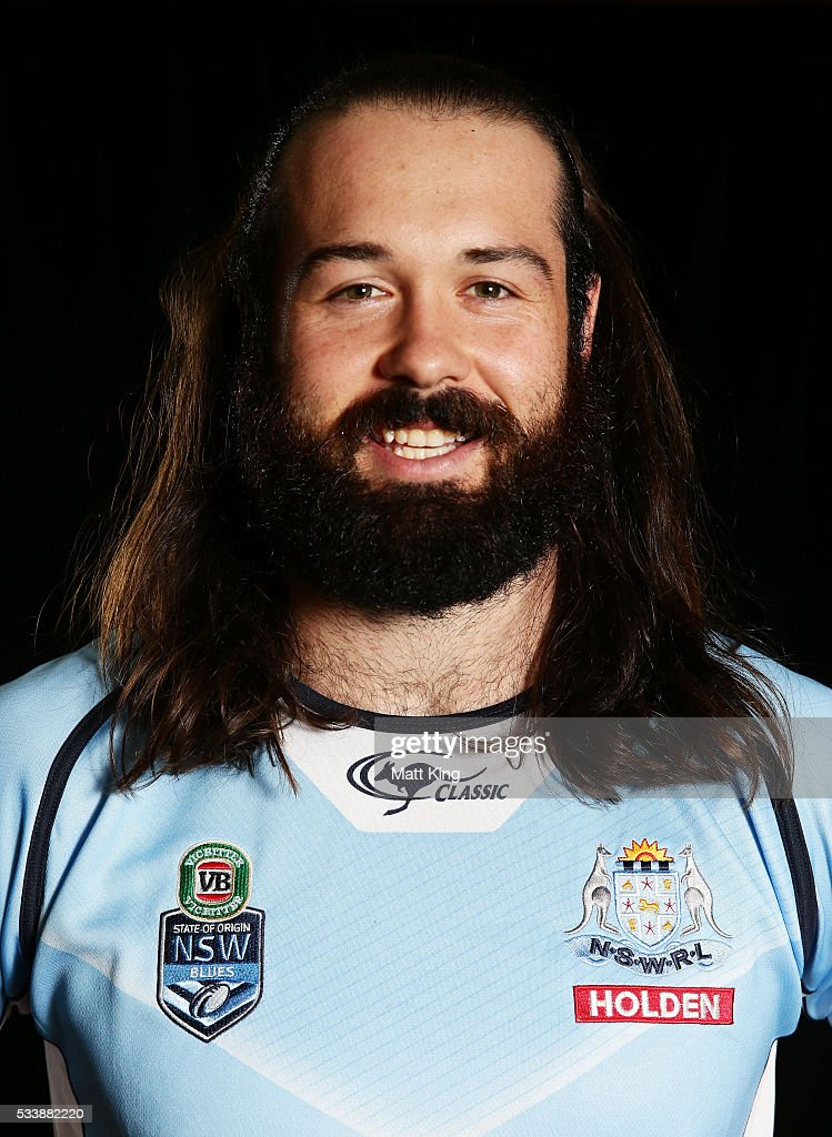 <a gi-track='captionPersonalityLinkClicked' href=/galleries/search?phrase=Aaron+Woods&family=editorial&specificpeople=7618727 ng-click='$event.stopPropagation()'>Aaron Woods</a> of the Blues poses during a New South Wales Blues NRL State of Origin portrait session at The Novatel on May 24, 2016 in Coffs Harbour, Australia.