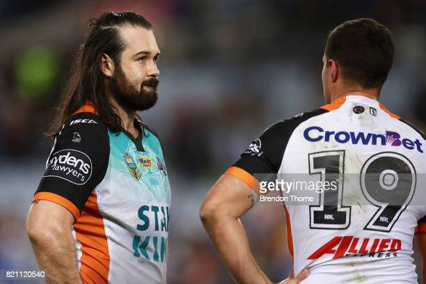Aaron Woods of the Tigers looks on during the round 20 NRL match between the Wests Tigers and the Parramatta Eels at ANZ Stadium on July 23 2017 in...