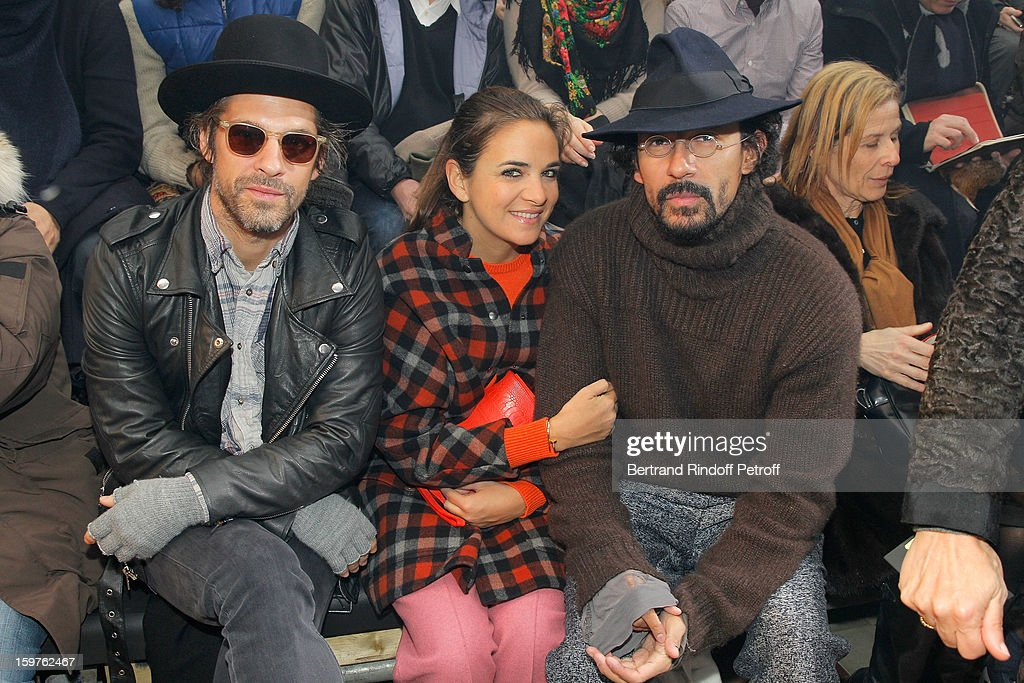 Aaron Young, Laure Heriard Dubreuil and Hayder Ackerman attend the Lanvin Men Autumn / Winter 2013 show at Ecole Nationale Superieure Des Beaux-Arts as part of Paris Fashion Week on January 20, 2013 in Paris, France.