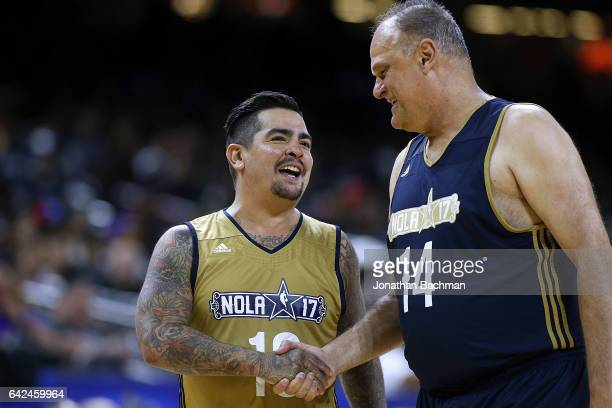 Aarron Sanchez talks to Oscar Schmidt during the NBA AllStar Celebrity Game at the MercedesBenz Superdome on February 17 2017 in New Orleans...
