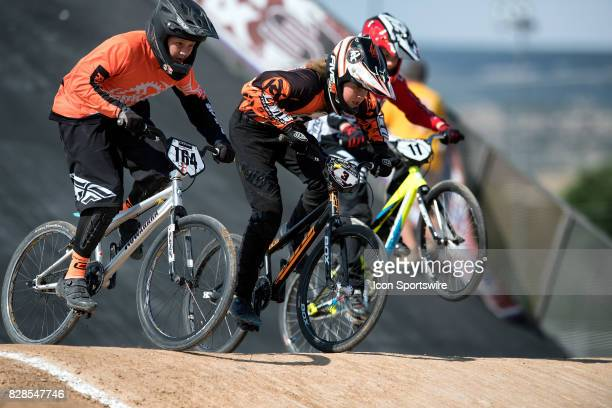 Aasa Flores Factory LDC's River Reece and COB/Findlay's Kevin Cameo hit the first jump during 12 Cruiser action at the USA BMX Mile High Nationals on...