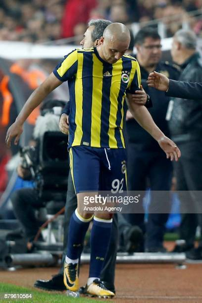 Aatif Chahechouhe of Fenerbahce is seen during the Turkish Super Lig match between Antalyaspor and Fenerbahce at Antalya Stadium in Antalya Turkey on...