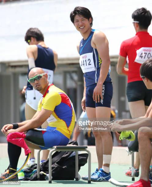 Aatsushi Yamamoto and Gurimu Narita talk during the Men's Long Jump during day one of the Japan Para Athletic Championships at Komazawa Stadium on...