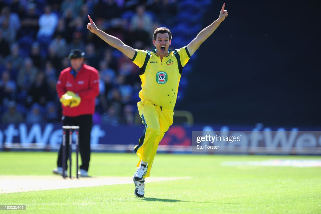 Aaustralia bowler Clint Mckay celebrates after completing his hat trick by dismissing England batsman Joe Root during the 4th NatWest Series ODI between England and Australia at SWALEC Stadium on September 14, 2013 in Cardiff, Wales.