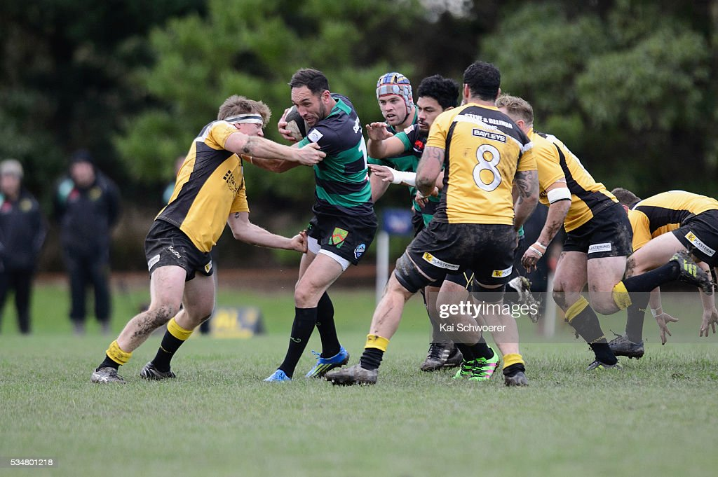 Aayden Clarke of Linwood is tackled during the match between New Brighton RFC and Linwood RC on May 28, 2016 in Christchurch, New Zealand.