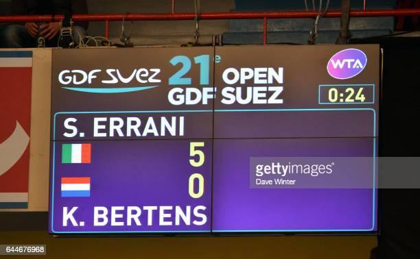 Abandon Kiki BERTENS / Tableau de score 1/2Finale 21e Open GDF Suez 2013 Stade Pierre du Coubertin Paris Photo Dave Winter / Icon Sport