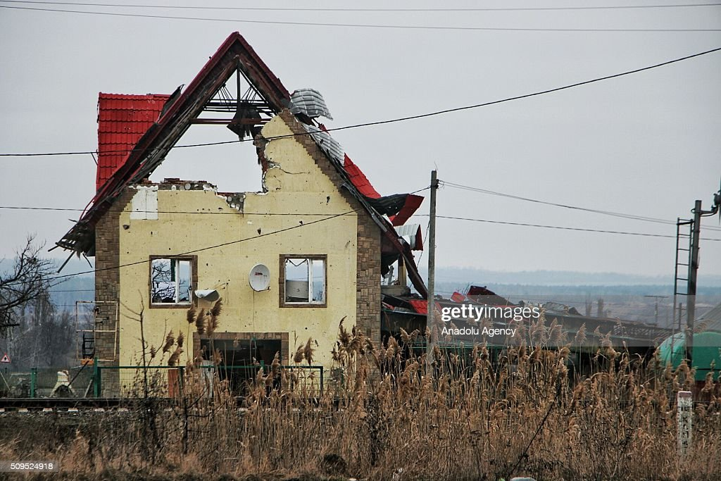 Abandoned and heavily damaged buildings are seen in Sloviansk city of Donetsk Region, Ukraine on February 11, 2016. Sloviansk had been evacuated due to heavy clashes between Ukraine army and Pro-Russian separatists which had erupted on 2014.