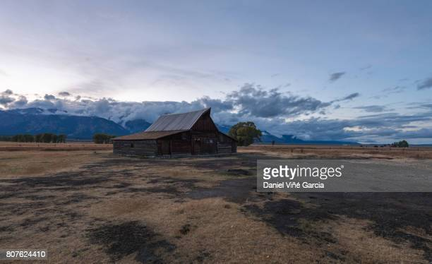 Abandoned barns on Mormon Row with Moulton barn in The Grand Teton National Park in Jackson, Wyoming.
