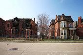 Abandoned brick buildings in Detroit, Michigan