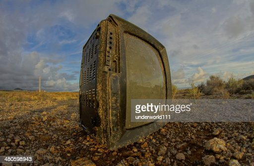 Abandoned Broken Television : Stock Photo