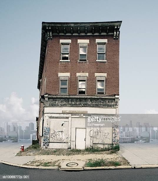 Abandoned building in urban environment