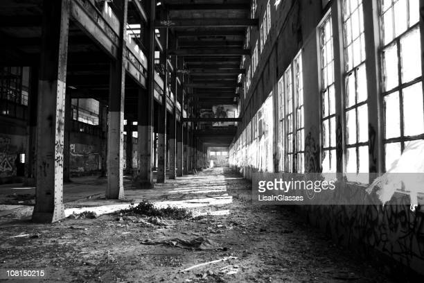 Abandoned Building Warehouse, black and white