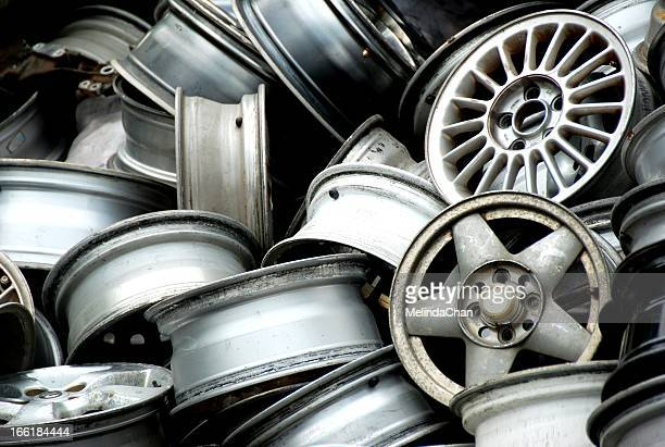 Abandoned car wheel rims