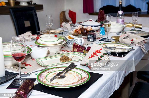 Abandoned Christmas dinner table after eating