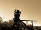 Abandoned conveyor belt of a sand mining factory