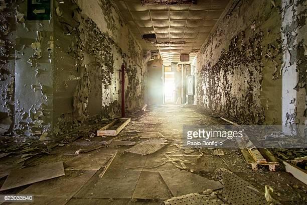Abandoned corridor in the Chernobyl Exclusion Zone, Pripyat, Ukraine