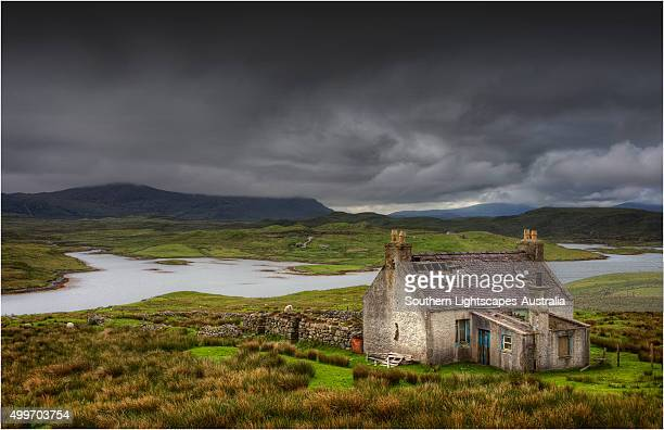 Abandoned Crofter's cottage in the countryside of the Isle of Lewis, Outer Hebrides, Scotland.