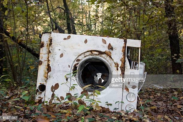 Alten beschädigte Waschen-Maschine in einem Wald