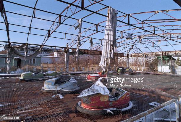 Abandoned dodgem cars in the fun fair at Pripyat Central Park evacuated town two kilometres from the Chernobyl power station November 1995