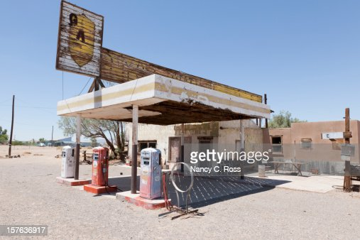 Abandoned Gas Station On Route 66 Desert Stock Photo