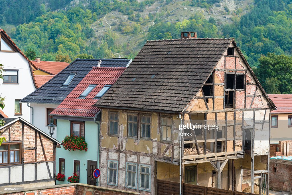 Abandoned half-timbered house : Stock Photo