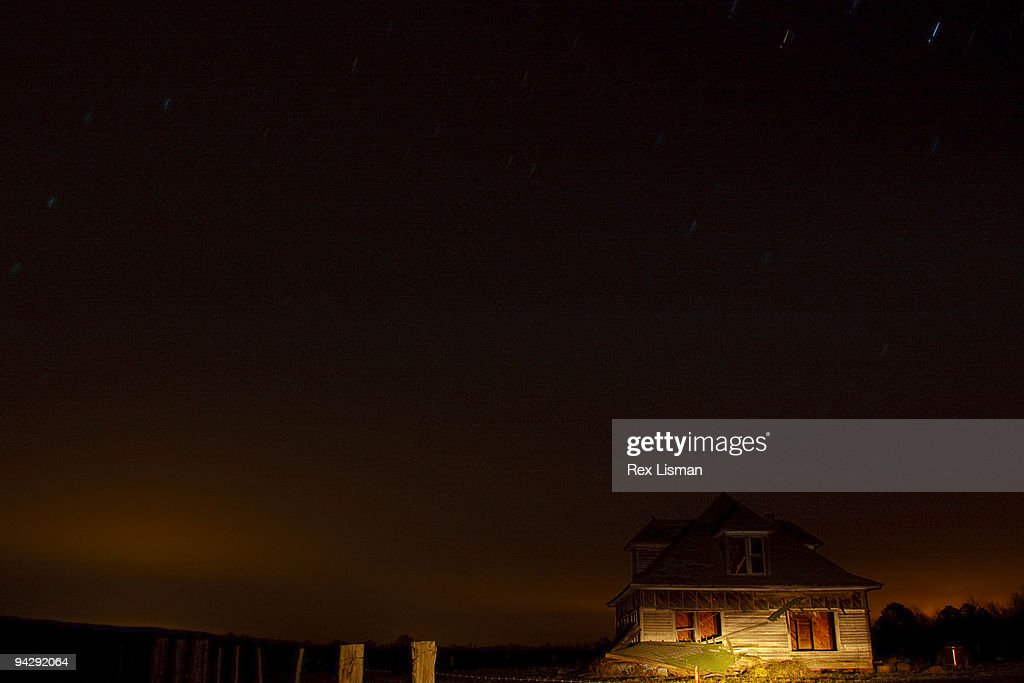 Abandoned House At Night Stock Photo | Getty Images