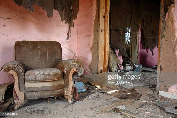 Abandoned house interior with pink walls