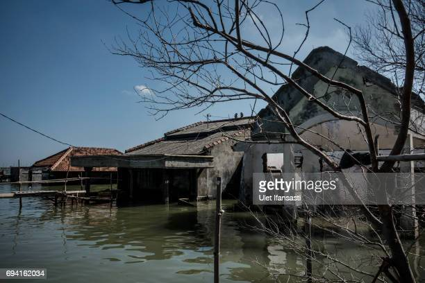Abandoned houses are seen sit surrounded by rising sea levels at Sriwulan village on June 8 2017 in Demak Indonesia Indonesia is known to be one of...