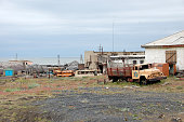 Abandoned industrial area at Arctic town Pevek, Chukotka, Russia