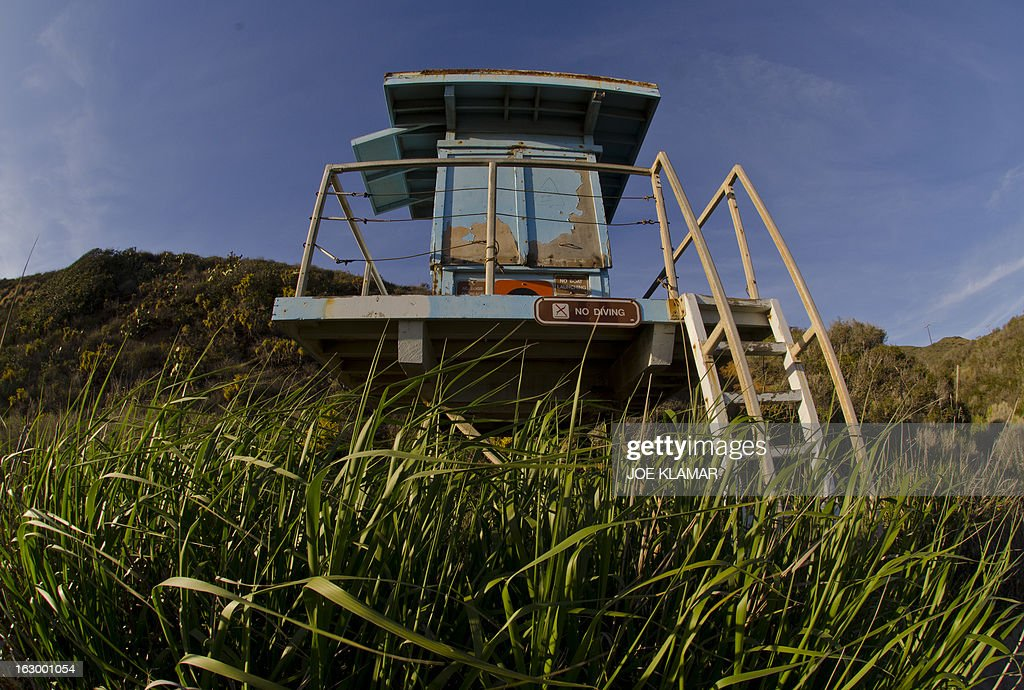 Abandoned life guard's watch tower rests at Leo Carrillo state beach north of Malibu, California on March 02,2013.In the last couple of days Southern Californians were enjoing summer temperatures and plenty of sunshine.AFP PHOTO/JOE KLAMAR