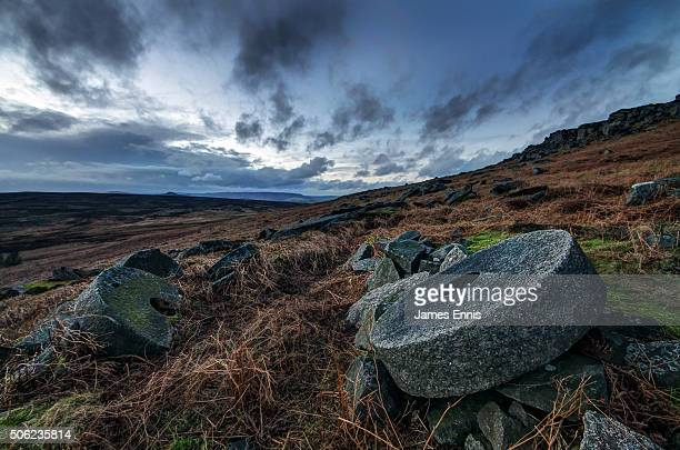 Abandoned Millstones, Stanage Edge, Peak District National Park, Derbyshire, UK