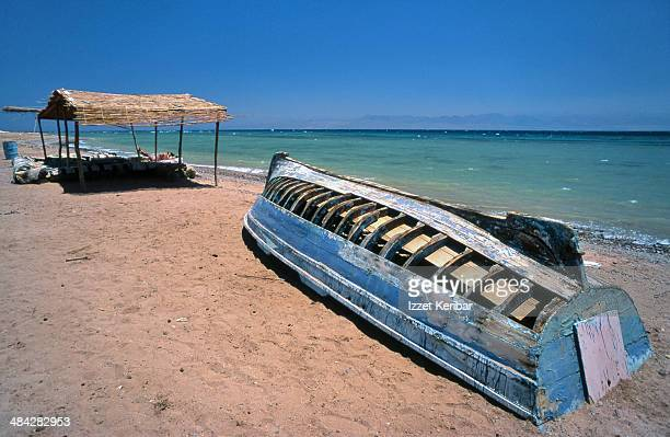Abandoned  old boat at Sinai seashore, Aqaba gulf