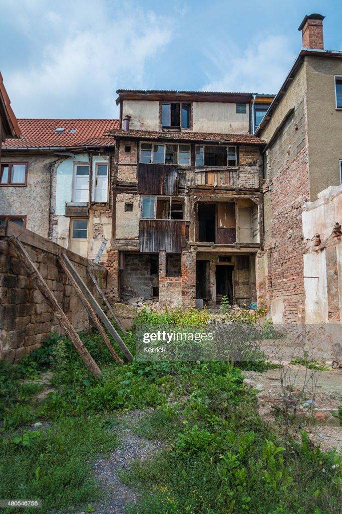 Abandoned Old House with backyard : Stock Photo